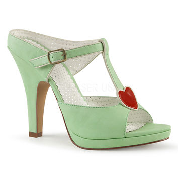 Pin Up Couture Siren Platform Mint Green Strap Slide Heels