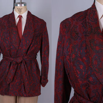 Vintage 1920s Men's Robe | 20s 30s Two Tone Shawl Collar Smoking Jacket with Attached Belt | Medium