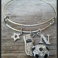 Personalized Girls Soccer Bracelet, Soccer Charm Bracelet, Soccer Gifts For Girls, Soccer Mom, Girls Soccer Wire Bangle, Soccer Charms,