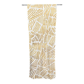 "Pom Graphic Design ""Inca Gold Trail"" Yellow Brown Decorative Sheer Curtain"