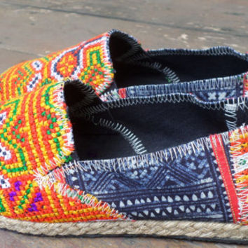 Womens Shoes Vegan Espadrilles Orange Hmong Embroidered Loafers With Indigo