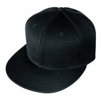 6 Panel Blank Retro Flat Bill Vintage Hip Hop Poly Snapback Baseball Hats (6FBC 003 BLACK)