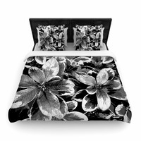 "Julia Grifol ""Leaves In Gray"" Floral Black Woven Duvet Cover"
