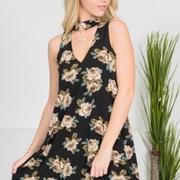 Black Antique Floral Dress
