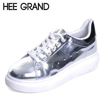 HEE GRAND Patent Leather Creepers Platform Shoes Woman 2017 Casual Loafers Gold Silver