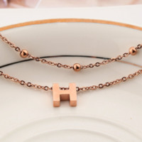 Hermes Fashion new letter anklet bracelet with accessories models women Rose gold