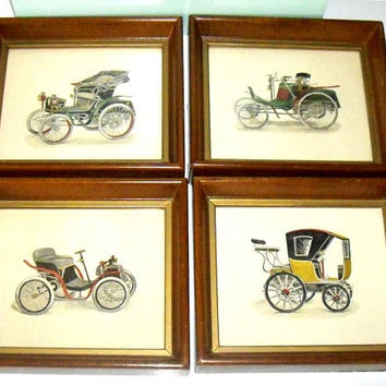 Vintage Horseless Carriage Prints, antique car pictures, framed wall decor, Fathers Day gift, automobiles