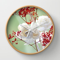 White Rose for you Wall Clock by Tanja Riedel
