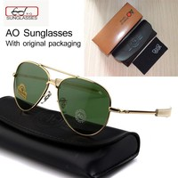 Newest US Army MILITARY AO Brand Designer Aviator Sunglasses Glass Lens men Sun Glasses oculos masculino With original Case logo