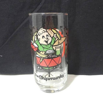 1985 Chipmunks Theodore Drinking Glass, Character Glass, Bagdasarian Production, 5 7/8 Inches Tall, Vintage Cartoon Glass, Good Paint, Drums