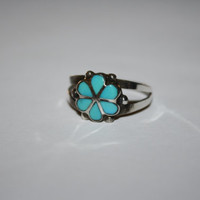 Flower Turquoise and Sterling Vintage Ring Size 8.75 - free ship US