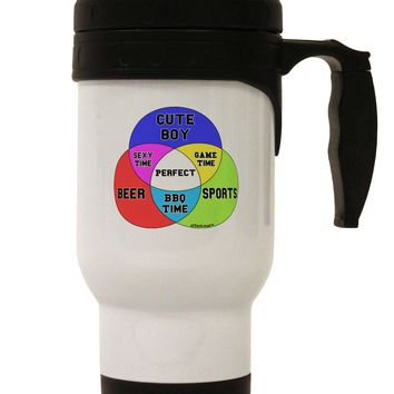 Beer Boy and Sports Diagram Stainless Steel 14oz Travel Mug
