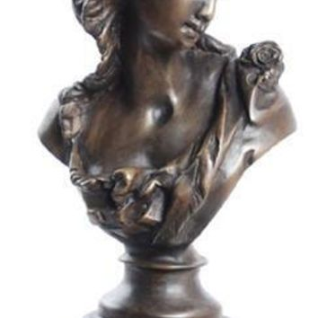 Victorian Girl Bust, Lost Wax Bronze Metal
