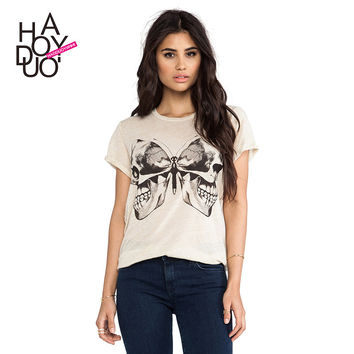 Creative Skull Butterfly Print T-Shirt Women Clothing 2016 Fashion Short Sleeve Women Tops Summer Casual Loose T Shirt Plus Size