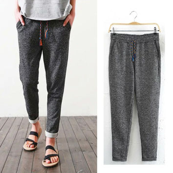 Gray Drawstring Elastic Waist Sporty Pants