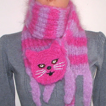 Pink striped cat  — handmade long scarf, animal scarf, cat, pink scarf, crochet scarf, knitted scarf, wool scarves, OOAK