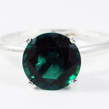 Large Emerald Solitaire Ring Sterling Silver, May Birthstone Ring, Sterling Silver Solitaire Ring, Large Solitaire Ring