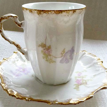 Early 1900s LIMOGES Lavender Sweet Peas and Periwinkles Fine Bone China Porcelain Tea cup Saucer Set  BEAUTIFUL Free USA Shipping