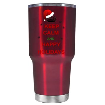 TREK Keep Calm and Happy Holidays on Translucent Red 30 oz Tumbler Cup