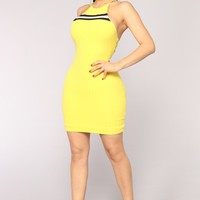 Mareli Ribbed Dress - Yellow