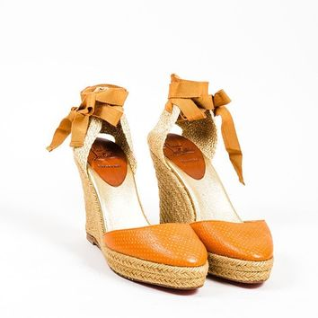 KUYOU Orange and Gold Christian Louboutin Perforated Leather Espadrille Wedges