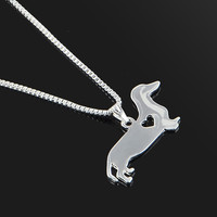 Cute Silver Weiner Dog Heart Necklace