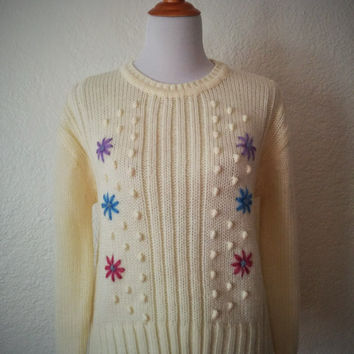 Vintage 80's Flower Sweater Cream with Multicolored Embroidery