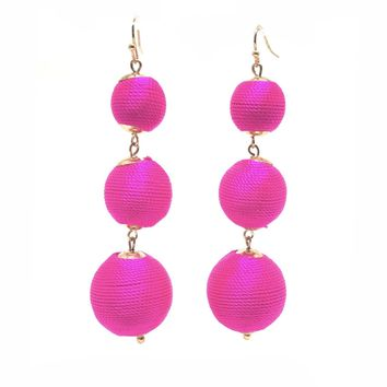 Three Wishes Hot Pink Drop Earrings