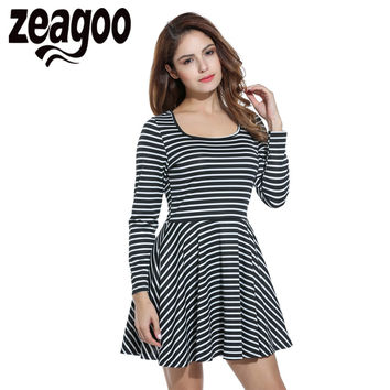 Zeagoo Stripe Dress Square Neck Long Sleeve Autumn Dress Fit and Flare Mini Pleated Dress Female Elegant Party Dress Vestidos