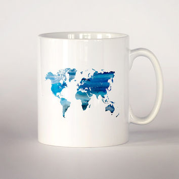 Map of the world mug, Blue map watercolor Tea Cup, coffee cup 11 oz. Mug art, Ceramic Mug art, Blue map mug, Watercolor illustration