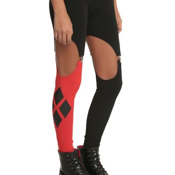 Licensed cool DC  Harleen Collection Red And Black Garter Leggings Harley Quinn JRS. S-M