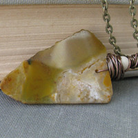 Arrowhead  necklace, raw opal pendant, boho chic layering necklace, yellow opal arrowhead, stone pendant, earthy, organic, tribal necklace