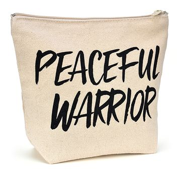 Canvas Zipper Makeup Bag - Peaceful Warrior