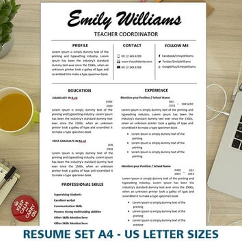 Resume Template Teacher | Elementary | Instant Download | 2 Page CV | Modern Cover Letter Templates | Clean and Simple Resume Template Word