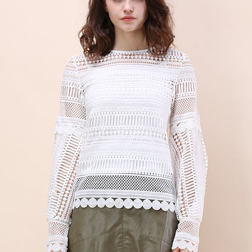 Crochet Without End Smock Top in White