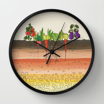 Earth soil layers vegetables garden cute educational illustration kitchen decor print Wall Clock by Bad English Cat