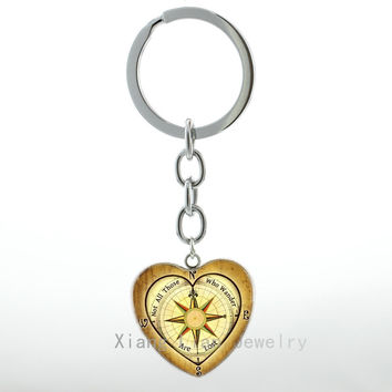 Vintage Nautical Compass Heart Pendant key chain rings Not All Those Who Wander Are Lost keychain case for Lord of R Jewelry H13