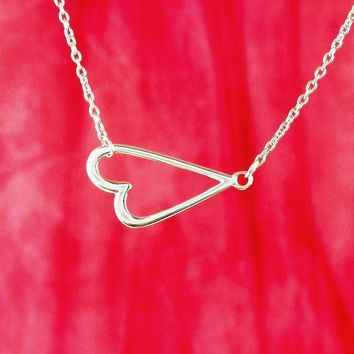 Clever Sideways Heart Necklace