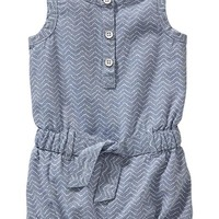Old Navy Sleeveless Chambray Rompers For Baby
