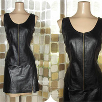 Vintage 90s Leather Skirt & Top | 1990s Black Leather Set | Corset Top | Mini Skirt | Biker Babe | Size 12 L/XL