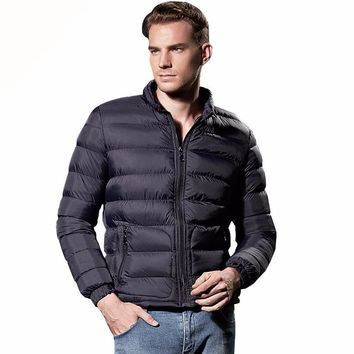 Fashion Suitable Windrbeaker Solid Lightweight Winter Jacket Men Nylon Navy Zipper Western Puffer Down Coat