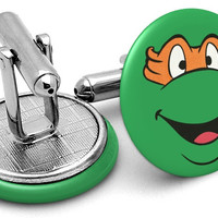Ninja Turtles Michelangelo Face Cufflinks