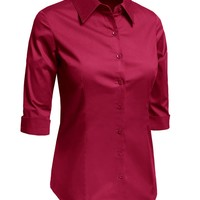 LE3NO Womens Plus Size Roll Up 3/4 Sleeve Button Down Shirt with Stretch
