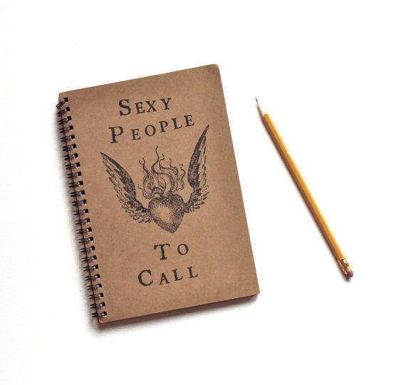 Sexy People to Call hand stamped spiral notebook journal