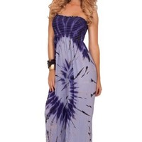 Womens Casual Elastic Printed Straight Neck Strapless High Waist Maxi Dress