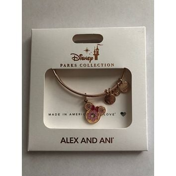 Disney Alex and Ani Parks Minnie Donut Snack Food Rose Gold Charm Bracelet New
