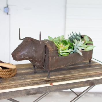Recycled Metal Bull Planter