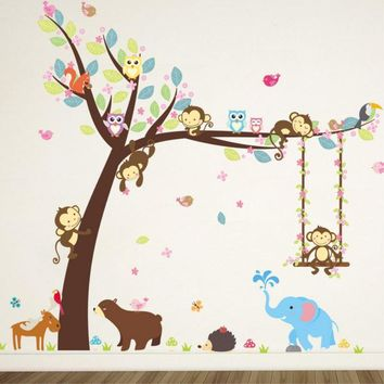 Wall Paper Swing Monkeys on the Tree Wall Stickers Removable Vinyl Decal Kids Baby Decor