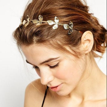Beautiful Golden Leaves Hair Hoop
