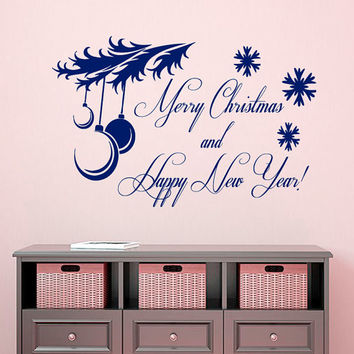 Happy New Year Wall Decal Quote Merry Christmas Vinyl Stickers Window Decals Living Room Design Interior Nursery Room Bedding Decor Art KI7